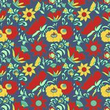 Vintage floral background Flowers folk art style Fabulous ethnic pattern blue color Doodles and Paisley Turkish cucumbers Stock Photos