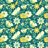 Vintage floral background Flowers folk art style Fabulous ethnic pattern blue color Doodles and Paisley Turkish cucumbers Stock Photo