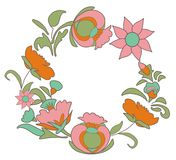 Vintage floral background. Flowers folk art style. Fabulous ethnic pattern Round floral frame Stock Photography