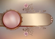 Vintage floral background with pearls and ornament. Elegant gentle spring blank backgrounds in light pink motives Royalty Free Stock Image