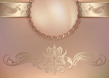 Vintage floral background with pearls and ornament Royalty Free Stock Images