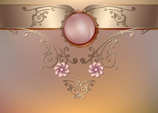 Vintage floral background with pearls and ornament Stock Images