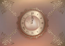 Vintage floral background with pearls and ornament. Elegant vintage background with old clock with ornament. Vintage floral background with pearls and ornament Royalty Free Stock Image