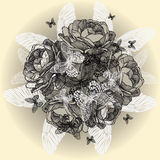 Vintage floral background of roses, butterflies, h Stock Photo