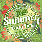 Vintage floral background with summer party logo Stock Image