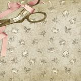 Vintage Floral Background Texture - Shabby Chic Roses with Vintage Scissors vector illustration