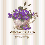 Vintage Floral Background with Violets in a Cup Stock Images