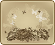 Vintage floral background with wild roses and butt Royalty Free Stock Photography