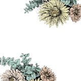 Vintage floral background for your text. Vector floral backdrop. Blooming garden flowers. Botanical Illustration engraving style. Colorfull. Country style Stock Images