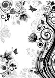 Vintage floral banner (black and white) Royalty Free Stock Image