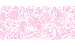 Vintage floral baroque seamless border with blooming magnolias, rose and twigs, roses vector illustration, flower Royalty Free Stock Photos