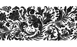 Vintage floral baroque seamless border with blooming magnolias, rose and twigs, roses vector illustration, flower Royalty Free Stock Images