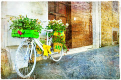 Vintage floral bike -retro picture Royalty Free Stock Image