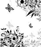 Vintage floral black and white background Stock Photos
