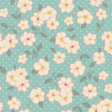 Vintage floral on blue Stock Photos