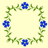 Vintage floral border  with blue  flowers decorated with green leaves Royalty Free Stock Photos