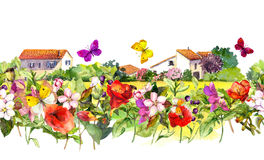 Vintage floral border - countryside houses. Watercolor summer flowers, butterflies. Seamless frame Stock Photos