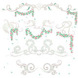 Vintage floral border elements Stock Images