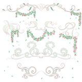 Vintage floral border elements. Vintage calligraphic elements with floral elements Stock Images