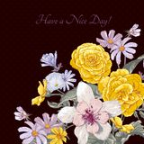 Vintage floral bouquet, botanical greeting card Royalty Free Stock Photos