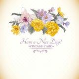 Vintage floral bouquet, botanical greeting card Stock Photos