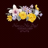 Vintage floral bouquet, botanical greeting card Royalty Free Stock Image
