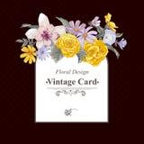 Vintage floral bouquet, botanical greeting card Stock Photo