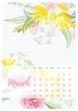 Vintage floral calendar 2018 Stock Image