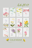 Vintage floral calendar 2017. With the names of the months written in calligraphy watercolor. Vector illustration Royalty Free Stock Photos