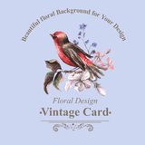 Vintage Floral Card with Bird on Branch Stock Photo