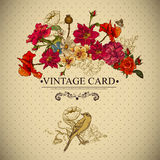 Vintage Floral Card with Birds and Butterflies. Royalty Free Stock Photo