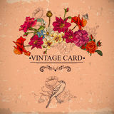 Vintage Floral Card with Birds and Butterflies. Royalty Free Stock Images