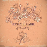Vintage Floral Card with Birds and Butterflies. Royalty Free Stock Photography