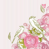 Vintage Floral Card with Birds and Butterflies Royalty Free Stock Photo
