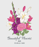 Vintage floral card with bouquet of lilies, gladiolus and rose Stock Photography