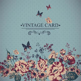 Vintage Floral Card with Butterflies. Stock Images
