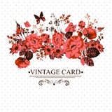 Vintage Floral Card with Butterflies. Stock Photos