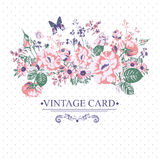 Vintage Floral Card with Butterflies. Stock Photo