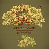 Vintage Floral Card with Exotic Flowers. Stock Photo