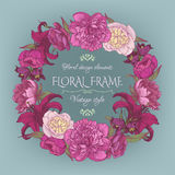 Vintage floral card with a frame of peonies and lilies. Beautiful wreath in shabby chic style. Vector illustration Stock Photo