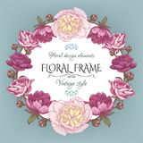 Vintage floral card with a frame of white and purple peonies and persian buttercup. Stock Photos
