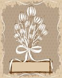 Vintage floral card with hand drawn elements Stock Photo