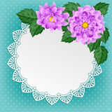 Vintage floral card with lace doily Royalty Free Stock Photography