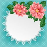 Vintage floral card with lace doily Stock Image