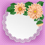 Vintage floral card with lace doily Stock Photography