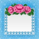 Vintage floral card with lace doily Stock Images