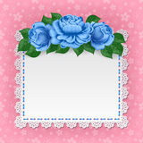 Vintage floral card with lace doily Royalty Free Stock Photos
