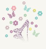 Vintage floral card of perfect shoes vector Royalty Free Stock Image