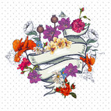 Vintage Floral Card with  Ribbon Stock Photos