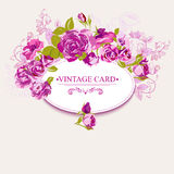 Vintage Floral Card with Roses Royalty Free Stock Images